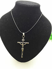 MAN'S Fashion Jewelry Copper Cross Jesus Pendant Black Leather Necklace Gift#1