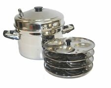 Tabakh IC-204 4-Rack Stainless Steel Idli Cooker with Strong Handles, Makes 16 I