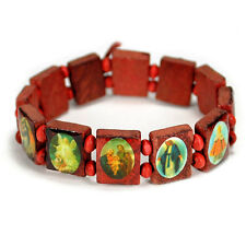 SAINT BEAD BRACELET Red Wood Stretch Elasitc Religious Icon Jesus Angel Catholic