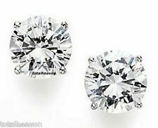 Solid 14K White Gold AAA 4mm 0.50ct CZ Screw Back Stud Earrings DFlawless SPARKL