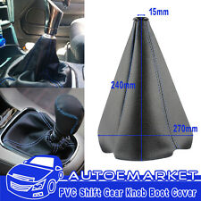 Black Carbon PVC Blue Stitch Manual AUTO Car Gear Shift Knob Shifter Boot Cover