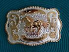 1- Western Running Horse Buckle Gold-Silver Color 5-1/2x3-3/4 in.