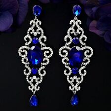 Rhodium Plated Blue Sapphire Crystal Rhinestone Drop Dangle Earrings 08313 New