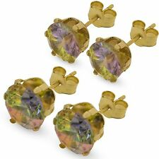 9CT GOLD CZ STUD EARRINGS AURORA WHITE PINK LILAC AMETHYST BLACK CUBIC ZIRCONIA