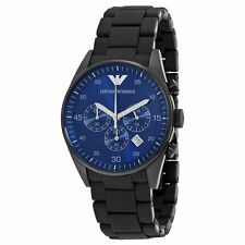 NEW EMPORIO ARMANI AR5921 MEN'S CHRONOGRAPH BLACK AND BLUE DIAL WATCH