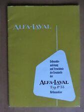 Alfa-Laval Melk-Anlage Maschine P55 Betriebsanleitung Teileliste 1958 Pulswerk