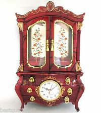 RED+GOLD TONE+FLOWER ACCENT RESIN CUPBOARD,CABINET STYLE CLOCK,JEWELRY+MUSIC BOX