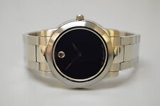 Men's MOVADO Museum Dial Black Face Stainless Steel Link Band Watch 84 E4 1893