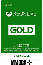 3 Months Xbox Live Gold Membership Code Microsoft Subscription Key Xbox 360/One