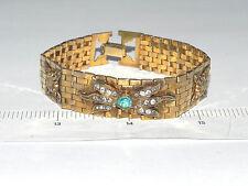 """Vintage PR. ST. Co Gold Filled Link Bracelet with Rhinestones 7"""""""