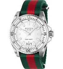 New Gucci Dive XL Sport White Dial Nylon Strap Mens Watch YA136207