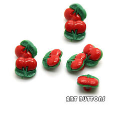 100PCS Red small Cherry plastic kids button fit sewing or scrapbooking 12mm