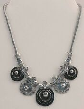 "VICTORIA LELAND DESIGNS Necklace Chunky Black & Silver Disc Bead 20"" NWT"