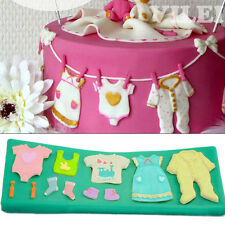 Baking Tool Silicone Fondant Mold Cake Topper Gum Paste Decor Clothes Pattern