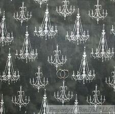 BonEful Fabric FQ Cotton Quilt Gray Cream Chandelier Shabby Chic Cottage Gothic
