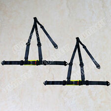 Sundely Pair 3 Point Black Racing Seat Belt Harness Kit For Car / Off Road / 4x4