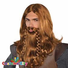 Adults Nordic Viking Warrior Wig & Beard Set Fancy Dress Costume Accessory