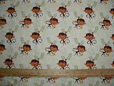 Cotton Fabric Artist of Kolea Monkey and banana on natural end of bolt 2 yards