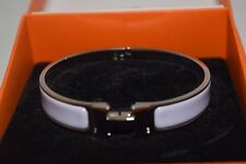 Hermes Clic Clac H Bracelet Purple Pink Enamel Silver tone with Box Authentic
