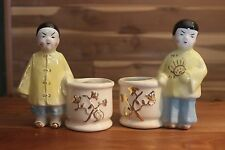 Vintage Asian Boy & Girl Basket Planter pottery colorful Ceramic