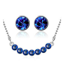 Dark Blue & Silver Crystal Balls Jewellery Set Stud Earrings & Necklace S795