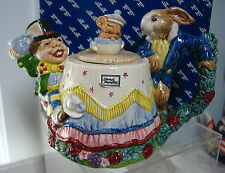 1992  Fitz & Floyd Mad Hatter & Rabbit Teapot  Alice in Wonderland MIB 30 oz