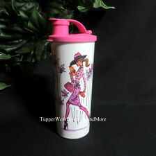 TUPPERWARE NEW 16 oz TUMBLER Girl On The Go PINK & White Flip Top Seal