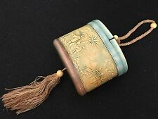 ANTIQUE MOLDED w/ SHADES OF GREEN CELLULOID 1920's Flapper COMPACT / PURSE