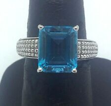 Ornate Sterling Silver .925 Emerald Cut Blue Topaz Dotted Pattern Cocktail Ring