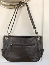 Genuine Leather Tignanello Gray Pocketbook Handbag Medium