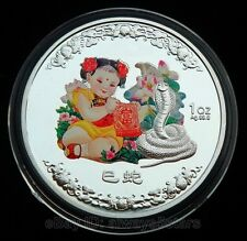 Lucky Snake Baby Chinese Lunar Zodiac Colored Silver Plated Coin Token