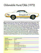 1972 Oldsmobile Hurst Olds Indy Pace Car Convertible Article - Must See !!