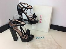 EMILIO PUCCI black Patent Leather Shoes Size 37.5 Uk 4.5 Boxed Rrp £335