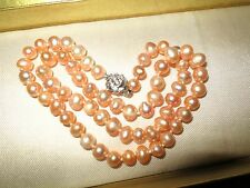 Lovely genuine freshwater cultured peach pink pearl  necklace