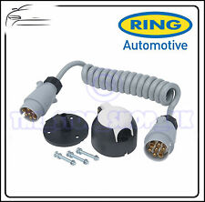 Ring Towbar Towing Caravan 7 Pin Plastic 12S Coiled Cable & Socket Set RCC120S