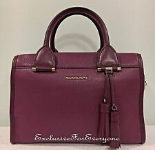 NWT Michael Kors Geneva Large Satchel Leather Plum Handbag $378