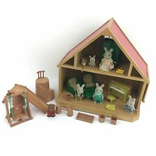 Vintage Sylvanian Families Wooden Cabin Bundle Rabbit Family Dolls House Playset