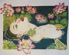 NUDE GEISHA SERIES! SURREALISM NEEDLEPOINT TAPESTRY PAINTING:BEAUTY AND LOTUS