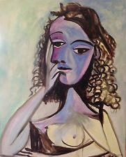 "NEW DAVID ALDUS ORIGINAL ""Nusch Éluard"" 1938 After Picasso Art Deco PAINTING"
