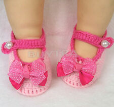 New Newborn Infant Girls Crochet Knit Sock Crib Shoes for 0-12 Month Baby Pop