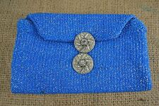VINTAGE 1960s electric blue knitted clutch evening bag Art Deco paste buckle
