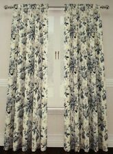 "Traditions by Waverly Blue Floral Window Panels 104"" x 84"" Curtains 2 NEW"