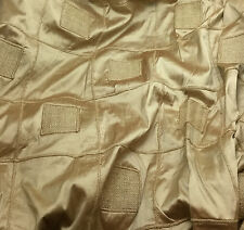 """Embroidered Silk DUPIONI Fabric - Beige with Jute Check Squares 18""""x27"""" remnant"""