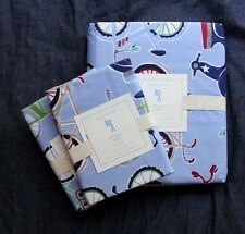 NEW Pottery Barn kids bicycle velo Duvet Cover and shams  Full / queen 3pc blue