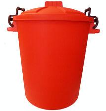 RED 50L Litre Plastic Colour Bin Garden Rubbish Waste Dustbin Trendy Storage UK