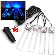 Set Accendisigari + 4 Luci Lampadine LED Blu Auto Cruscotto Interno Decoro 12V