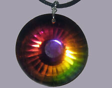 BEAUTIFUL VITRAIL MEDIUM VM CUT SUN RAY GLASS CRYSTAL PRISM  PENDANT NECKLACE