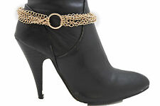 New Women Gold Metal Chains Boot Bracelet Anklet Shoe Charm Jewelry Strands Ring