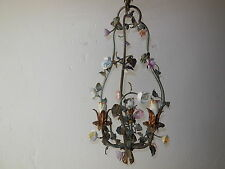 ~c 1870 RARE  French Tole Porcelain Roses & Flowers Chandelier Roses Original~