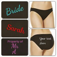 PERSONALISED Ladies Embroidered Knicker Underwear Bride Wedding Married ANY TEXT
